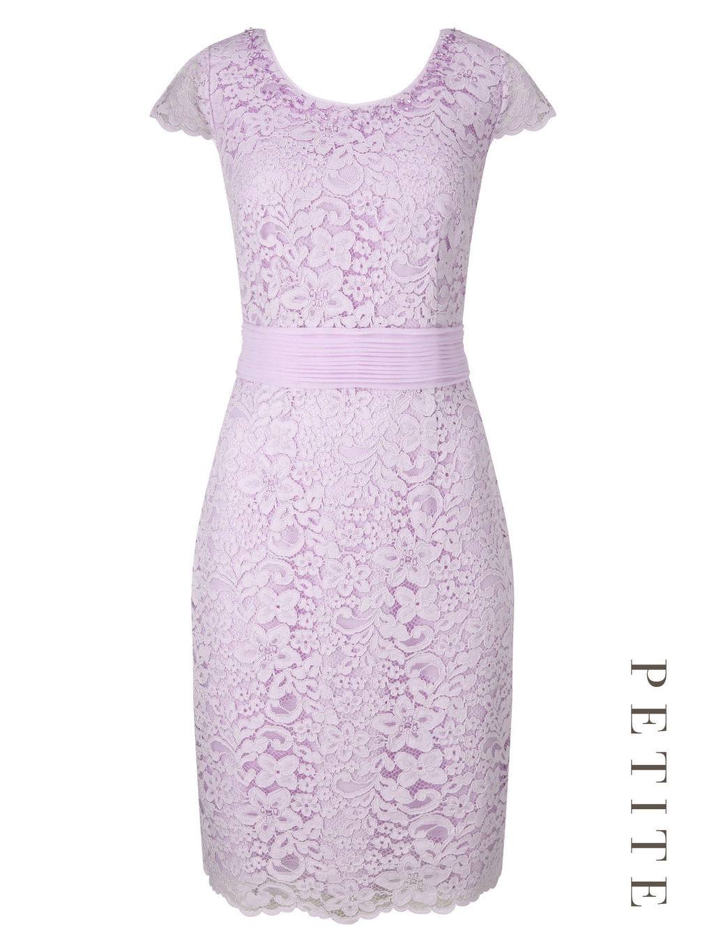 Petite Elegant Lace Dress - style: shift; neckline: round neck; sleeve style: capped; fit: tailored/fitted; predominant colour: lilac; occasions: evening, occasion; length: just above the knee; fibres: nylon - mix; sleeve length: short sleeve; texture group: lace; pattern type: fabric; pattern size: light/subtle; pattern: patterned/print; embellishment: lace; season: s/s 2016; wardrobe: event