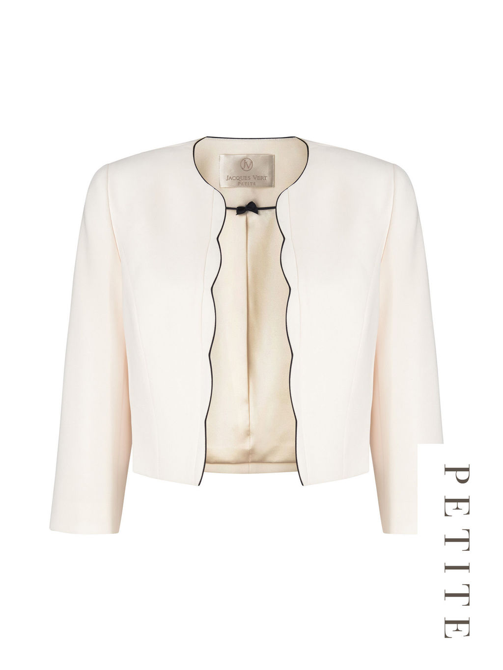 Petite Scallop Edge Jacket - pattern: plain; style: bolero/shrug; collar: round collar/collarless; predominant colour: ivory/cream; occasions: evening, occasion; length: standard; fit: tailored/fitted; fibres: polyester/polyamide - 100%; sleeve length: 3/4 length; sleeve style: standard; collar break: low/open; pattern type: fabric; texture group: woven light midweight; season: s/s 2016; wardrobe: event