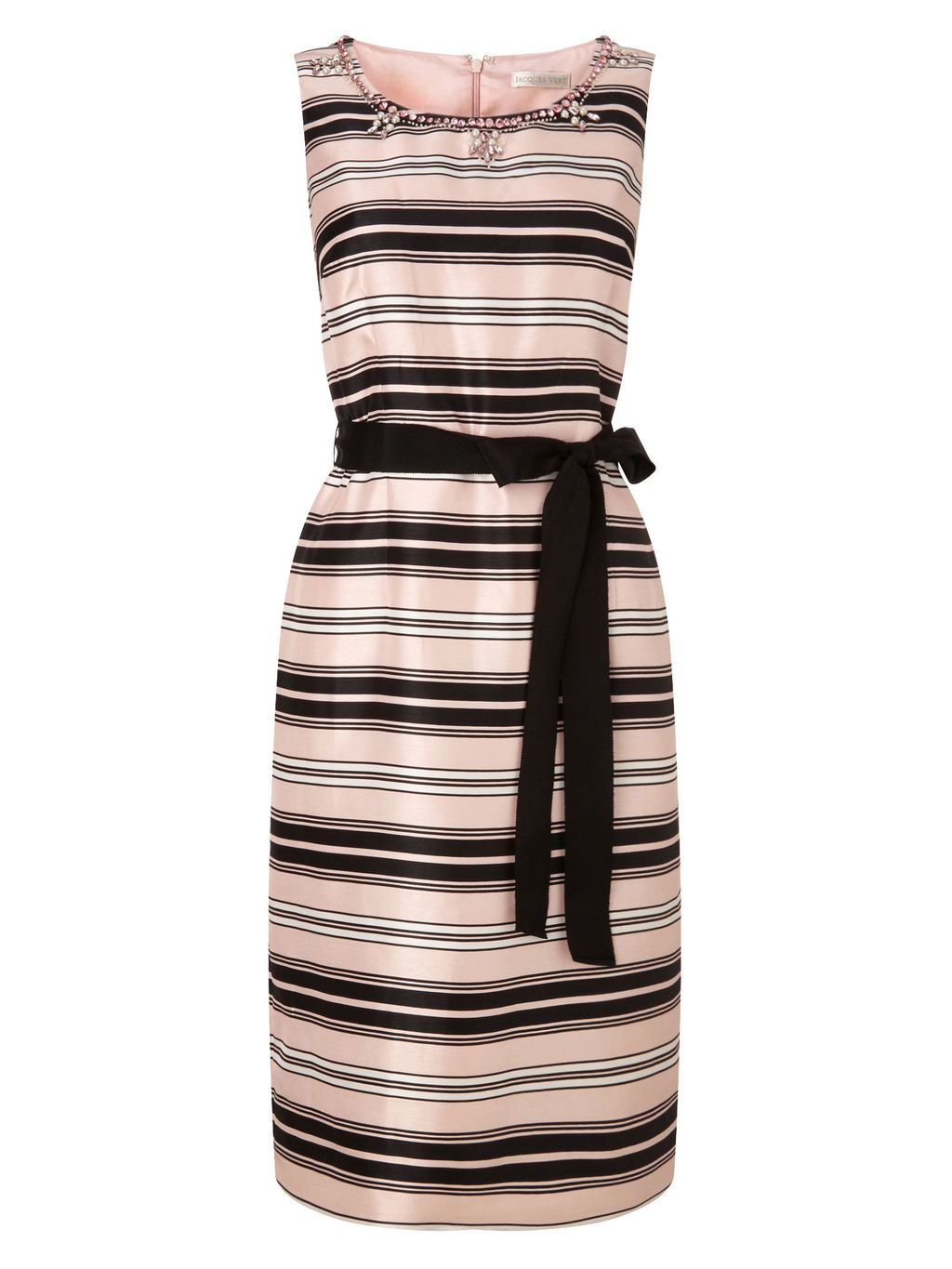 Embellished Stripe Dress, Blossom Pink/Multi - style: shift; neckline: round neck; fit: tailored/fitted; pattern: horizontal stripes; sleeve style: sleeveless; waist detail: belted waist/tie at waist/drawstring; predominant colour: stone; secondary colour: black; occasions: evening, occasion; length: just above the knee; fibres: polyester/polyamide - 100%; sleeve length: sleeveless; texture group: structured shiny - satin/tafetta/silk etc.; pattern type: fabric; pattern size: light/subtle; season: s/s 2016