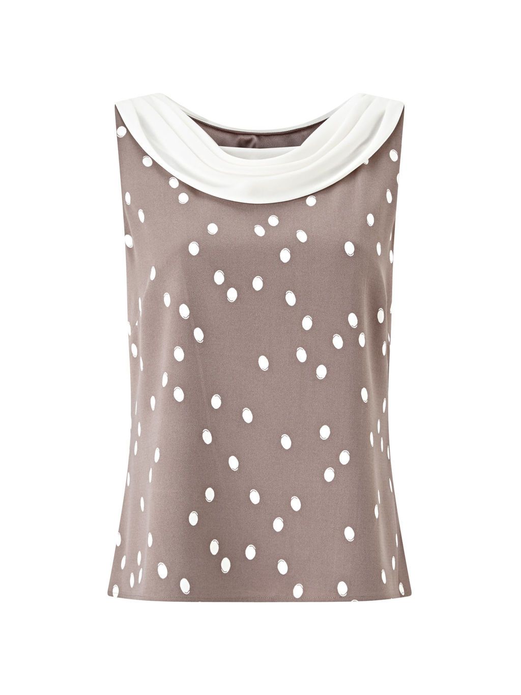 Spot Crepe Contrast Trim Top, Brown/Multi - neckline: round neck; sleeve style: sleeveless; pattern: polka dot; secondary colour: ivory/cream; predominant colour: taupe; occasions: evening, work, occasion; length: standard; style: top; fibres: polyester/polyamide - 100%; fit: body skimming; sleeve length: sleeveless; texture group: crepes; pattern type: fabric; pattern size: big & busy (top); season: s/s 2016