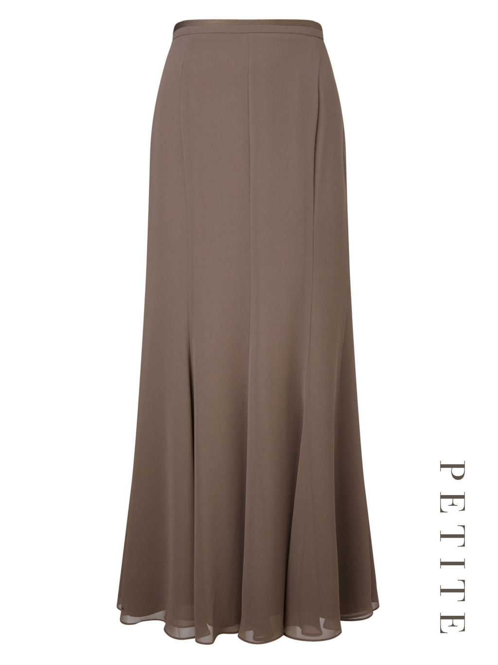 Petite Maxi Grosgrain Skirt - length: calf length; pattern: plain; fit: body skimming; waist: high rise; predominant colour: chocolate brown; occasions: evening; style: fit & flare; fibres: polyester/polyamide - 100%; texture group: crepes; pattern type: fabric; season: s/s 2016; wardrobe: event