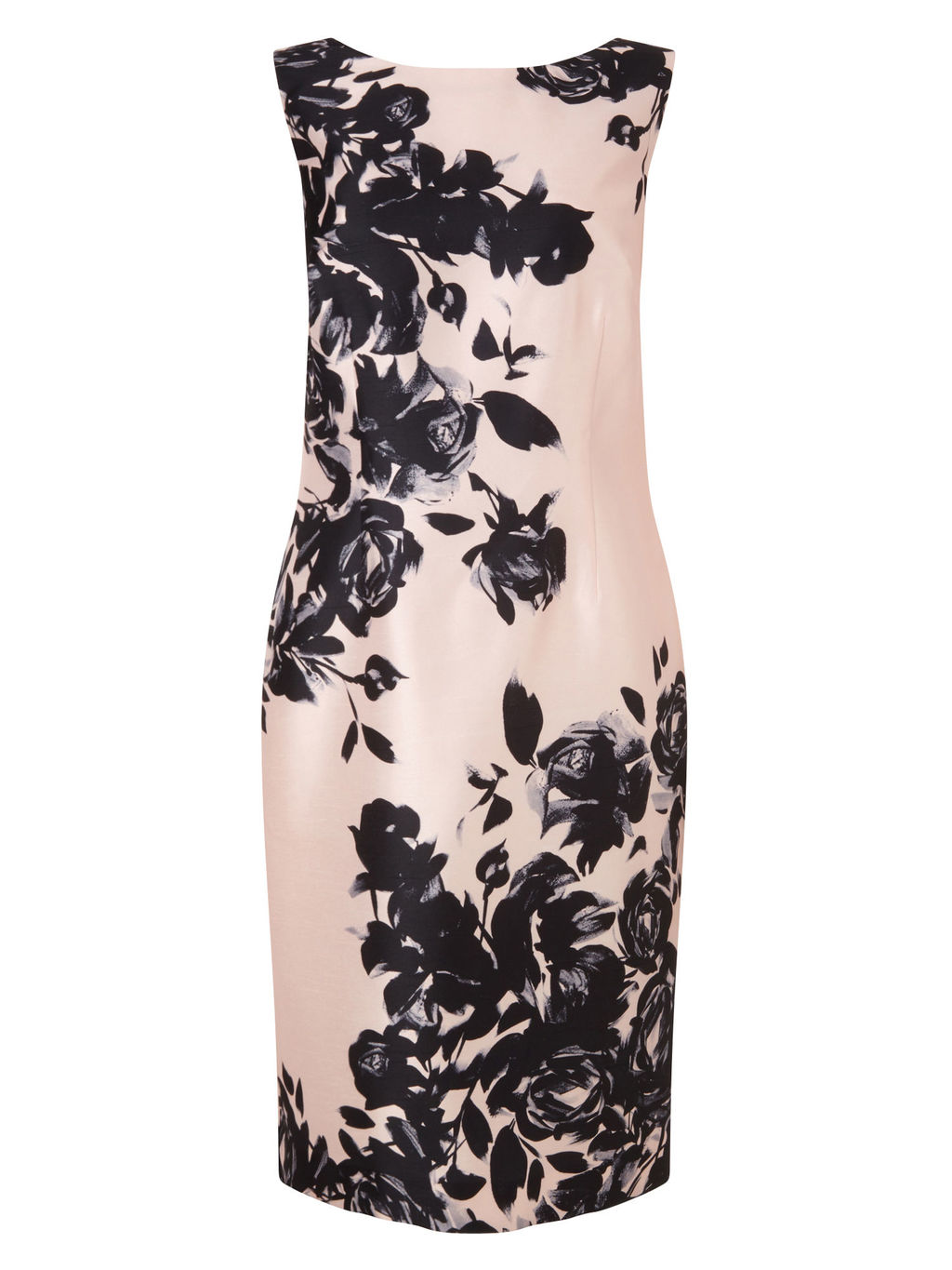 Placement Print Dress - style: shift; neckline: slash/boat neckline; fit: tight; sleeve style: sleeveless; predominant colour: blush; secondary colour: black; occasions: evening, occasion; length: just above the knee; fibres: polyester/polyamide - 100%; sleeve length: sleeveless; pattern type: fabric; pattern size: light/subtle; pattern: florals; texture group: woven light midweight; season: s/s 2016