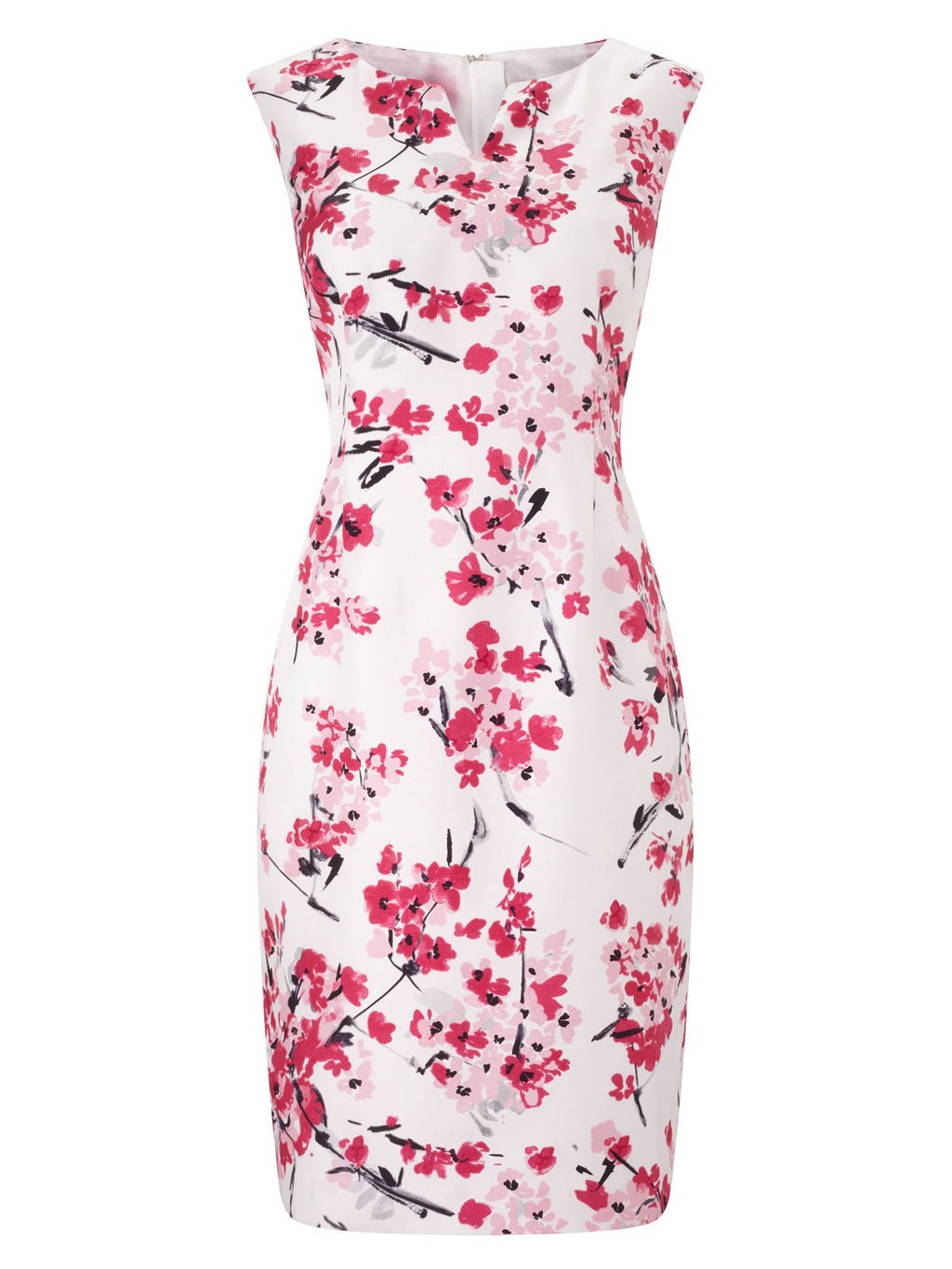 Floral Print Shift Dress, Pink/Multi - style: shift; neckline: v-neck; fit: tailored/fitted; sleeve style: sleeveless; predominant colour: ivory/cream; occasions: evening, occasion; length: just above the knee; fibres: polyester/polyamide - 100%; sleeve length: sleeveless; pattern type: fabric; pattern size: big & busy; pattern: patterned/print; texture group: woven light midweight; secondary colour: raspberry; season: s/s 2016; wardrobe: event