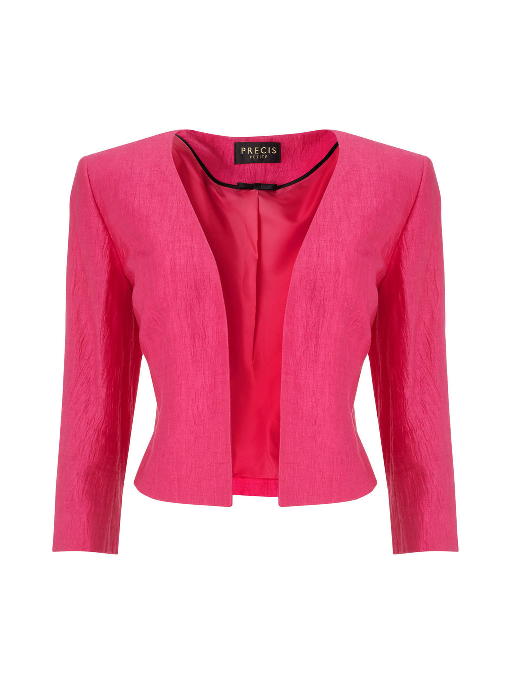 Edge To Edge Crinkle Jacket - pattern: plain; style: single breasted blazer; collar: round collar/collarless; predominant colour: hot pink; occasions: evening, occasion; length: standard; fit: tailored/fitted; fibres: linen - mix; sleeve length: 3/4 length; sleeve style: standard; collar break: low/open; pattern type: fabric; texture group: woven light midweight; season: s/s 2016; wardrobe: event
