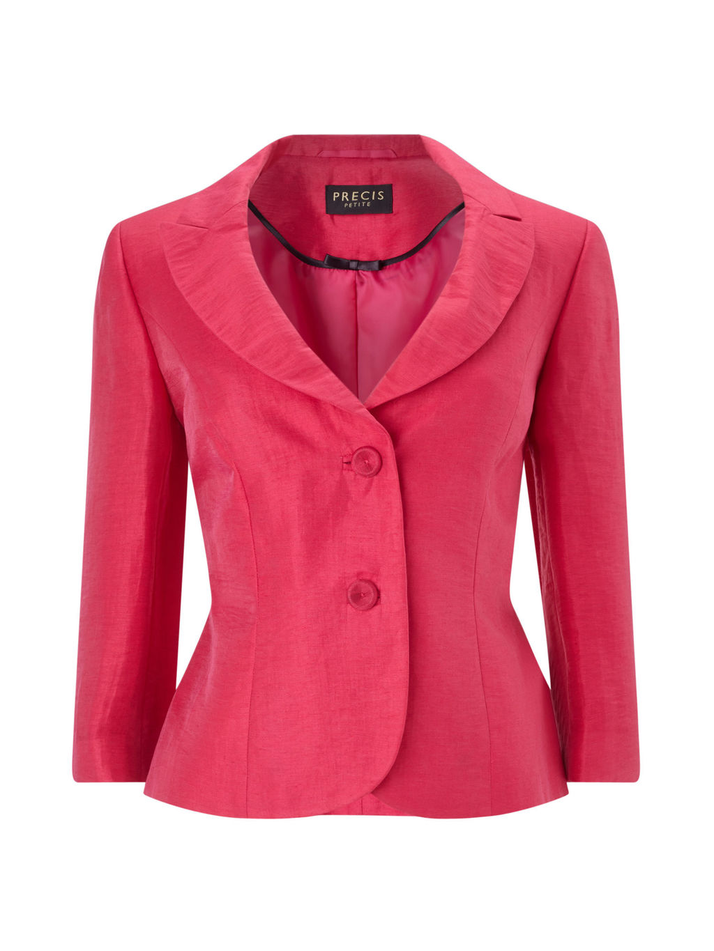 Portrait Crinkle Jacket, Pink - pattern: plain; style: single breasted blazer; collar: standard lapel/rever collar; predominant colour: hot pink; occasions: evening, occasion; length: standard; fit: tailored/fitted; fibres: linen - mix; sleeve length: 3/4 length; sleeve style: standard; texture group: structured shiny - satin/tafetta/silk etc.; collar break: medium; pattern type: fabric; season: s/s 2016; wardrobe: event