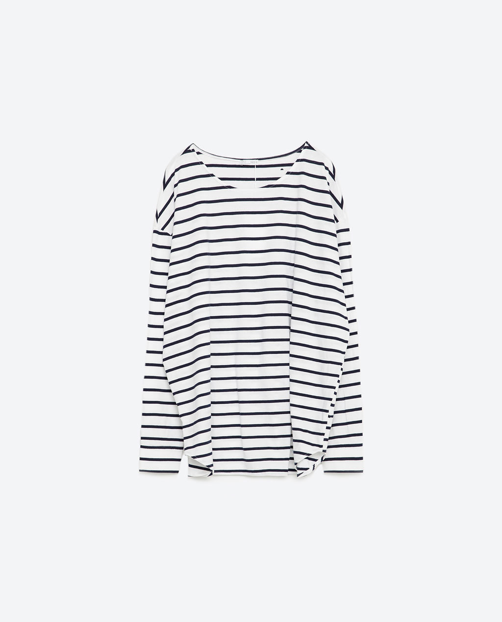 Oversized Top - sleeve style: dolman/batwing; pattern: horizontal stripes; length: below the bottom; secondary colour: white; predominant colour: royal blue; occasions: casual; style: top; fibres: cotton - 100%; fit: straight cut; neckline: crew; sleeve length: long sleeve; pattern type: fabric; pattern size: standard; texture group: jersey - stretchy/drapey; season: s/s 2016; wardrobe: highlight