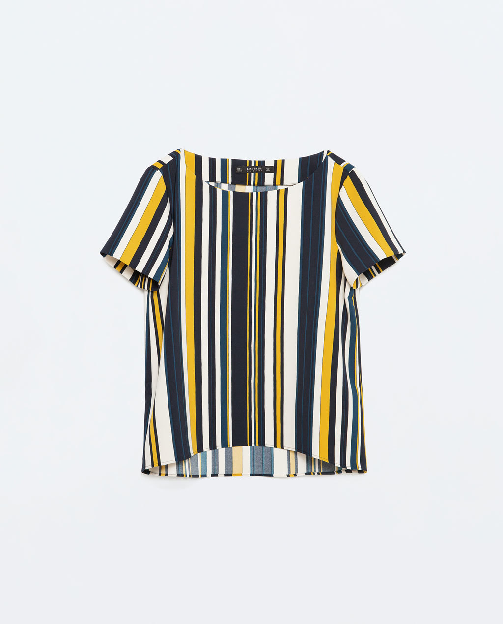 Striped Top - pattern: horizontal stripes; secondary colour: white; predominant colour: navy; occasions: casual, creative work; length: standard; style: top; fibres: polyester/polyamide - stretch; fit: loose; neckline: crew; sleeve length: short sleeve; sleeve style: standard; pattern type: fabric; pattern size: standard; texture group: other - light to midweight; multicoloured: multicoloured; season: s/s 2016; wardrobe: basic