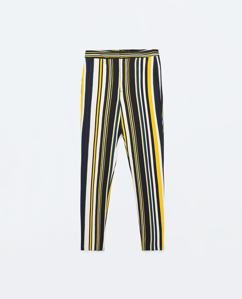 Mid Rise Striped Trousers - length: standard; pattern: vertical stripes; waist: mid/regular rise; predominant colour: navy; secondary colour: yellow; occasions: casual, creative work; fibres: polyester/polyamide - stretch; fit: slim leg; pattern type: fabric; texture group: woven light midweight; style: standard; season: s/s 2016; wardrobe: highlight