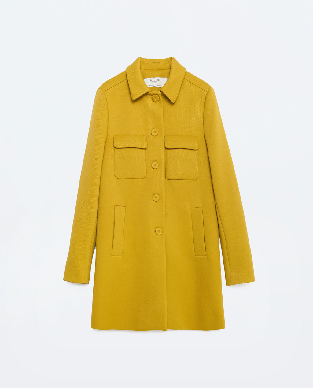 Coat With Peter Pan Collar - pattern: plain; style: single breasted; length: mid thigh; predominant colour: yellow; occasions: casual, work, creative work; fit: straight cut (boxy); fibres: polyester/polyamide - 100%; collar: shirt collar/peter pan/zip with opening; sleeve length: long sleeve; sleeve style: standard; collar break: high/illusion of break when open; pattern type: fabric; texture group: woven bulky/heavy; season: s/s 2016