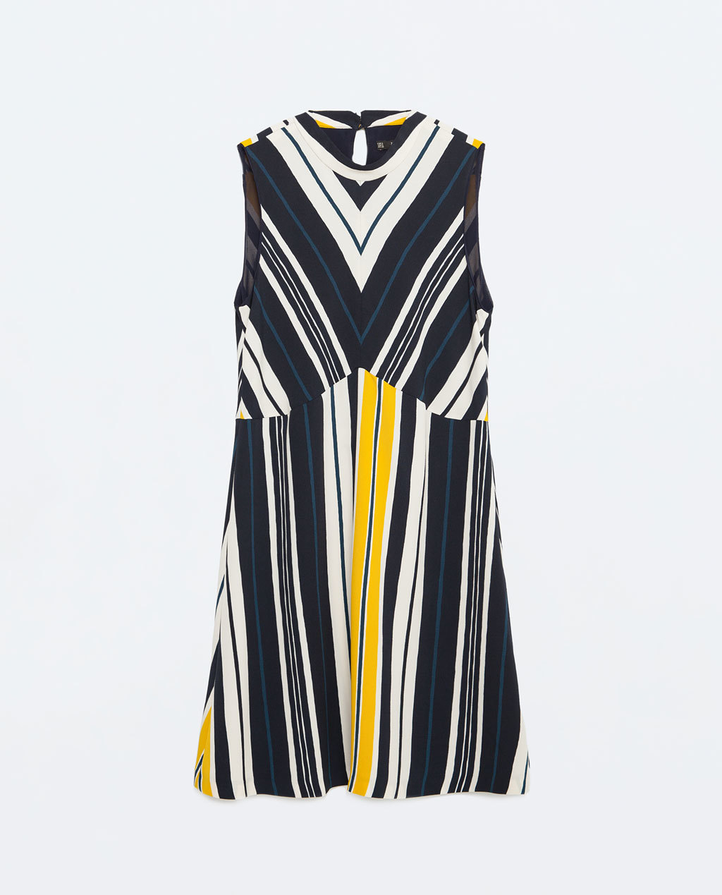 A Line Striped Dress - style: shift; length: mid thigh; fit: empire; pattern: horizontal stripes; sleeve style: sleeveless; predominant colour: navy; secondary colour: yellow; occasions: evening, creative work; fibres: polyester/polyamide - 100%; neckline: crew; sleeve length: sleeveless; texture group: cotton feel fabrics; pattern type: fabric; pattern size: big & busy; season: s/s 2016; wardrobe: highlight