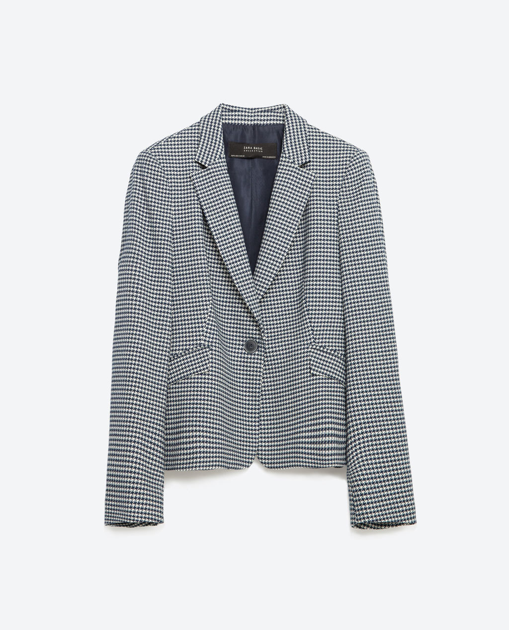 Buttoned Blazer - pattern: horizontal stripes; style: single breasted blazer; collar: standard lapel/rever collar; secondary colour: white; predominant colour: mid grey; occasions: evening, work; length: standard; fit: tailored/fitted; fibres: polyester/polyamide - 100%; sleeve length: long sleeve; sleeve style: standard; collar break: medium; pattern type: fabric; pattern size: light/subtle; texture group: woven light midweight; season: s/s 2016; wardrobe: investment