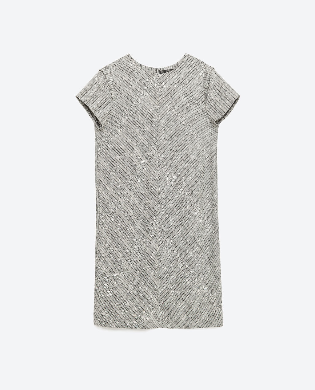 Straight Jacquard Dress - style: shift; length: mid thigh; sleeve style: capped; secondary colour: mid grey; predominant colour: light grey; occasions: casual, work, creative work; fit: straight cut; fibres: polyester/polyamide - stretch; neckline: crew; sleeve length: short sleeve; pattern type: fabric; pattern size: standard; pattern: patterned/print; texture group: brocade/jacquard; season: s/s 2016; wardrobe: highlight