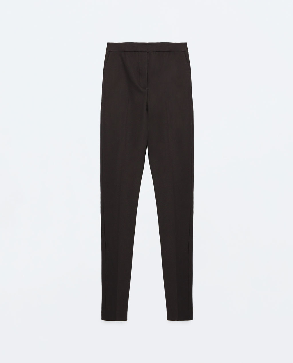 High Waist Skinny Trousers - length: standard; pattern: plain; style: peg leg; waist: high rise; predominant colour: black; occasions: casual, evening, creative work; fibres: cotton - stretch; fit: tapered; pattern type: fabric; texture group: woven light midweight; season: s/s 2016; wardrobe: basic