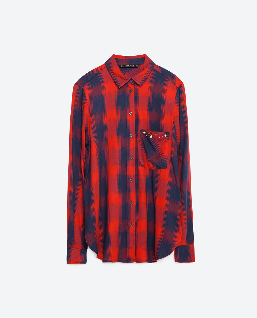 Check Shirt - neckline: shirt collar/peter pan/zip with opening; pattern: checked/gingham; length: below the bottom; style: shirt; predominant colour: true red; secondary colour: navy; occasions: casual, creative work; fibres: viscose/rayon - 100%; fit: straight cut; sleeve length: long sleeve; sleeve style: standard; texture group: cotton feel fabrics; pattern type: fabric; pattern size: big & busy (top); season: s/s 2016; wardrobe: highlight