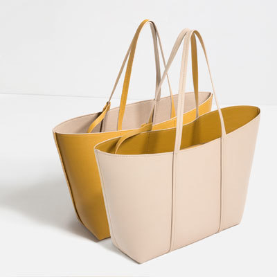 Reversible Tote - predominant colour: mustard; secondary colour: nude; occasions: casual, work, creative work; type of pattern: standard; style: tote; length: shoulder (tucks under arm); size: standard; material: faux leather; finish: plain; pattern: colourblock; season: s/s 2016