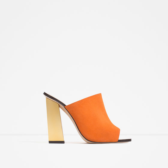 Leather Slingback Sandals - predominant colour: bright orange; secondary colour: gold; occasions: evening; material: leather; heel height: high; heel: block; toe: open toe/peeptoe; style: slides; finish: plain; pattern: plain; season: s/s 2016; wardrobe: event