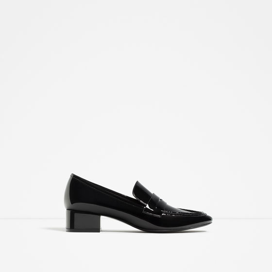 Loafers With Heel - predominant colour: black; occasions: casual, work, creative work; material: faux leather; heel height: flat; toe: round toe; style: loafers; finish: patent; pattern: plain; season: s/s 2016; wardrobe: basic