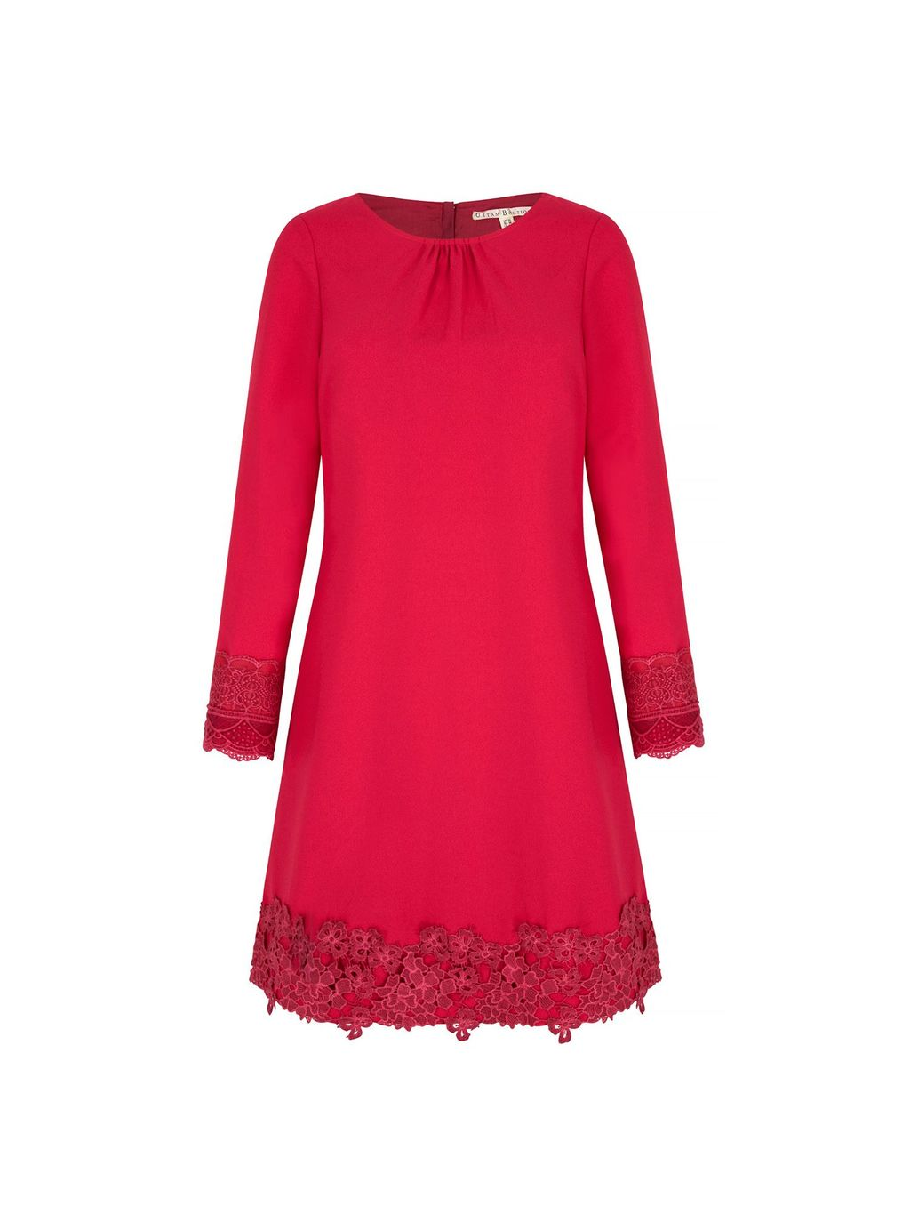 Long Sleeve Lace Shift Dress, Fuchsia - style: shift; length: mid thigh; pattern: plain; bust detail: subtle bust detail; predominant colour: hot pink; fit: soft a-line; fibres: polyester/polyamide - 100%; occasions: occasion; neckline: crew; sleeve length: long sleeve; sleeve style: standard; texture group: crepes; pattern type: fabric; embellishment: lace; season: s/s 2016; wardrobe: event; embellishment location: hem, sleeve/cuff