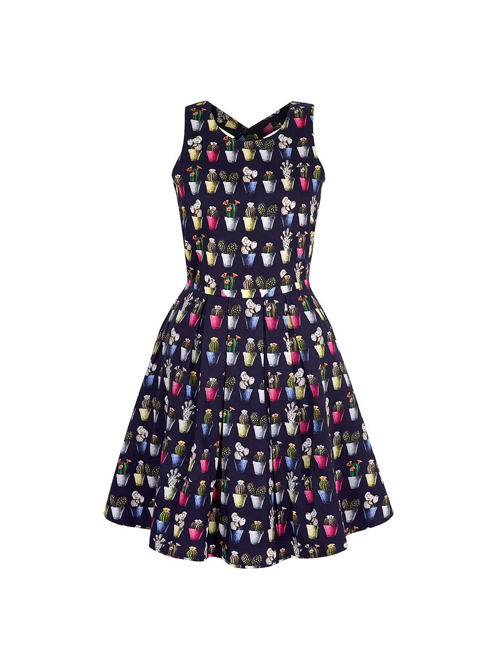 Cactus Print Skater Dress, Navy - style: tea dress; length: mid thigh; neckline: round neck; fit: fitted at waist; sleeve style: sleeveless; secondary colour: hot pink; predominant colour: navy; occasions: evening; fibres: cotton - 100%; sleeve length: sleeveless; texture group: cotton feel fabrics; pattern type: fabric; pattern size: big & busy; pattern: patterned/print; season: s/s 2016; wardrobe: event