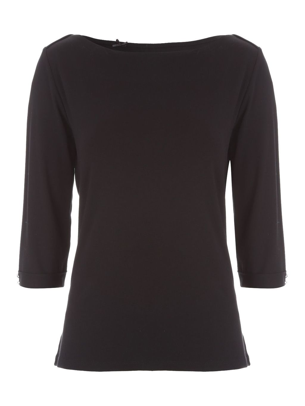 3/4length Boat Neck Top, Black - neckline: slash/boat neckline; pattern: plain; predominant colour: black; occasions: casual, work, creative work; length: standard; style: top; fibres: viscose/rayon - stretch; fit: body skimming; sleeve length: 3/4 length; sleeve style: standard; pattern type: fabric; texture group: jersey - stretchy/drapey; season: s/s 2016; wardrobe: basic
