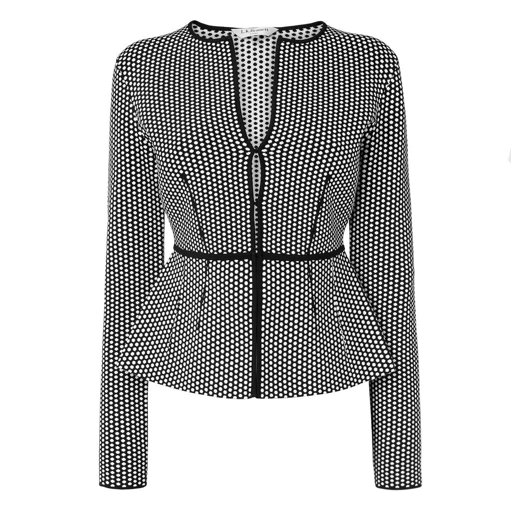 Nieve Jacquard Knit Cardigan Jacket Black Black White - style: single breasted blazer; collar: round collar/collarless; fit: slim fit; secondary colour: white; predominant colour: black; length: standard; fibres: viscose/rayon - stretch; waist detail: peplum detail at waist; sleeve length: long sleeve; sleeve style: standard; collar break: medium; pattern type: fabric; pattern: patterned/print; texture group: woven light midweight; occasions: creative work; season: s/s 2016; wardrobe: investment