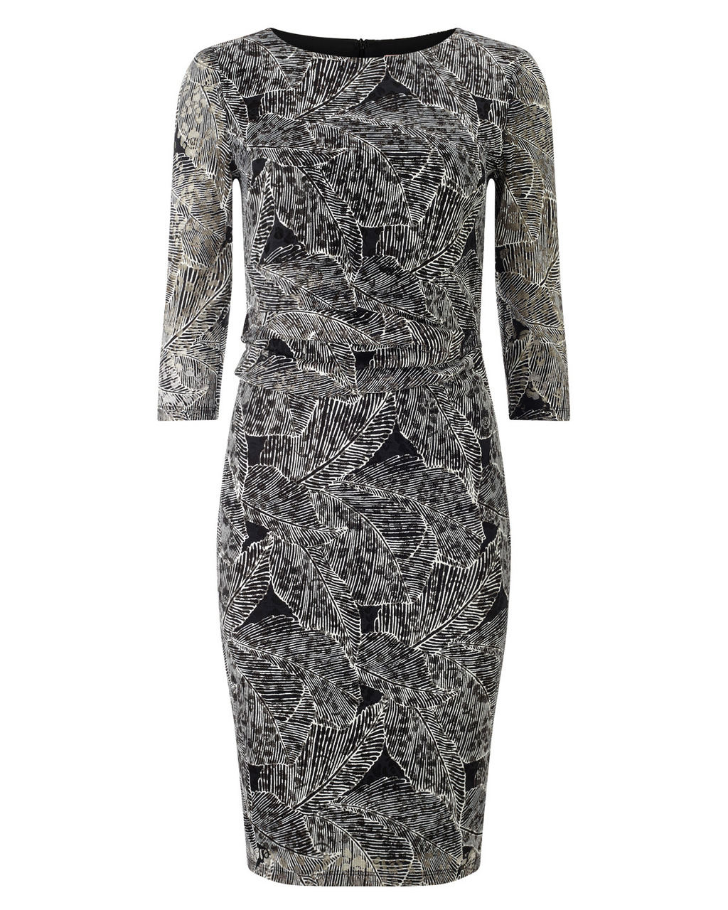 Leaf Print Lace Dress - style: shift; secondary colour: mid grey; predominant colour: black; occasions: evening, occasion; length: just above the knee; fit: body skimming; fibres: cotton - mix; neckline: crew; sleeve length: 3/4 length; sleeve style: standard; pattern type: fabric; pattern size: standard; pattern: patterned/print; texture group: jersey - stretchy/drapey; season: s/s 2016