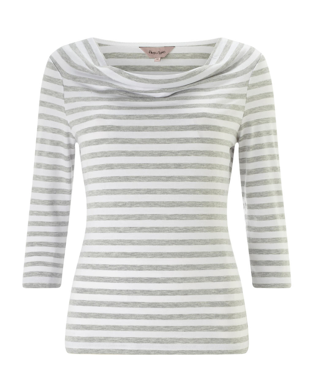 Stella Stripe Top - neckline: cowl/draped neck; pattern: horizontal stripes; style: t-shirt; predominant colour: white; secondary colour: mid grey; occasions: casual; length: standard; fibres: cotton - stretch; fit: body skimming; sleeve length: 3/4 length; sleeve style: standard; texture group: jersey - clingy; pattern type: fabric; pattern size: standard; season: s/s 2016; wardrobe: basic
