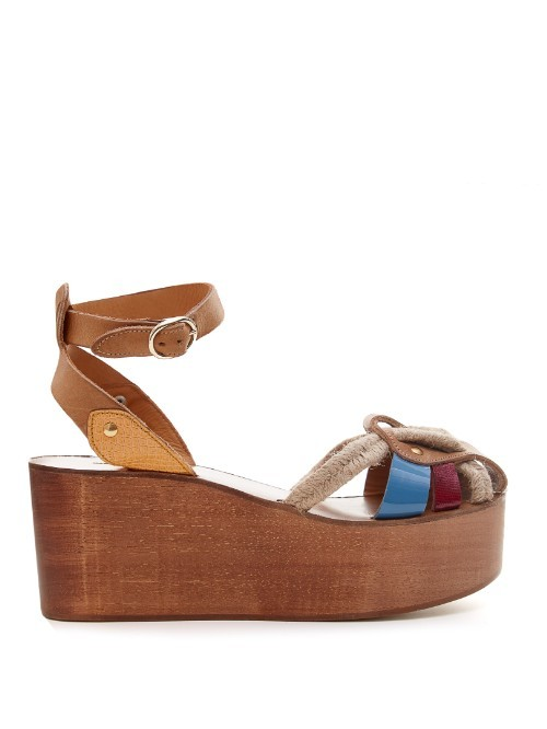 Étoile Zelie Rope And Leather Wedges - secondary colour: diva blue; predominant colour: tan; occasions: casual; material: leather; heel height: high; ankle detail: ankle strap; heel: block; toe: open toe/peeptoe; style: strappy; finish: plain; pattern: colourblock; shoe detail: platform; season: s/s 2016; wardrobe: highlight