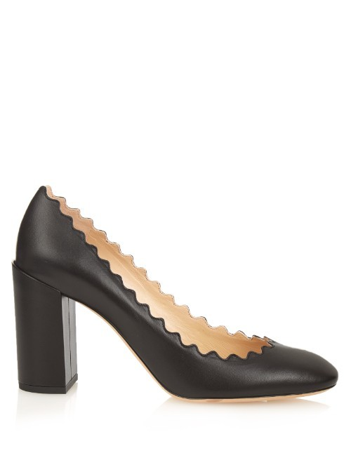 Lauren Scallop Edged Block Heel Leather Pumps - predominant colour: black; occasions: evening, work; material: leather; heel height: high; heel: block; toe: round toe; style: courts; finish: plain; pattern: plain; season: s/s 2016; wardrobe: investment