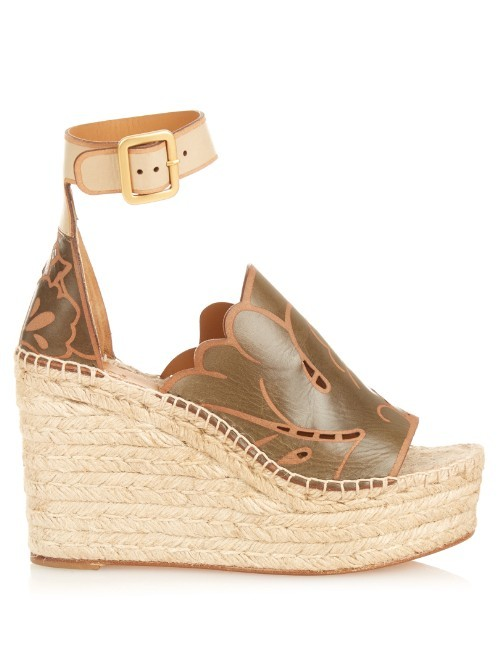 Isa Leather Espadrille Wedges - predominant colour: khaki; occasions: casual, holiday; material: leather; ankle detail: ankle strap; heel: wedge; toe: open toe/peeptoe; style: strappy; finish: plain; pattern: colourblock; heel height: very high; shoe detail: platform; season: s/s 2016; wardrobe: highlight