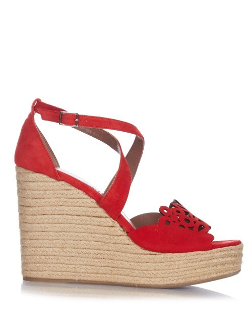 Laser Cut Suede Wedge Sandals - predominant colour: true red; occasions: casual, holiday; material: suede; ankle detail: ankle strap; heel: wedge; toe: open toe/peeptoe; style: standard; finish: plain; pattern: plain; heel height: very high; shoe detail: platform; season: s/s 2016; wardrobe: highlight