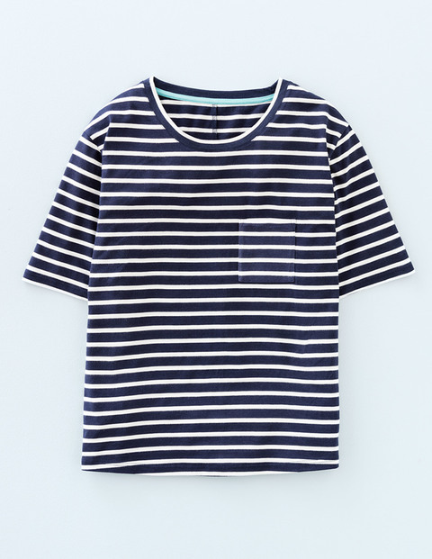 Supersoft Boxy Tee Navy/Ivory Women, Navy/Ivory - neckline: round neck; pattern: striped; style: t-shirt; secondary colour: white; predominant colour: navy; occasions: casual, creative work; length: standard; fibres: cotton - 100%; fit: body skimming; sleeve length: short sleeve; sleeve style: standard; texture group: cotton feel fabrics; pattern type: fabric; pattern size: standard; season: s/s 2016; wardrobe: highlight