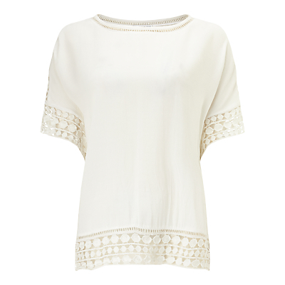 Ele Crochet Trim Blouse, Ivory - pattern: plain; style: blouse; predominant colour: ivory/cream; occasions: casual; length: standard; fibres: viscose/rayon - 100%; fit: body skimming; neckline: crew; sleeve length: short sleeve; sleeve style: standard; pattern type: fabric; texture group: other - light to midweight; embellishment: lace; season: s/s 2016; wardrobe: highlight