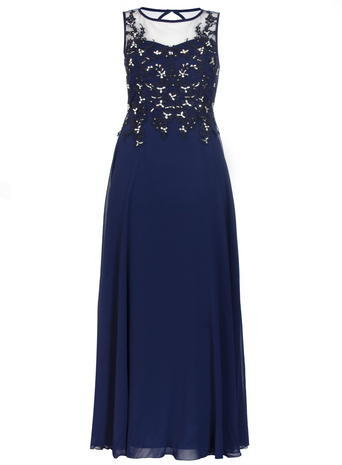 Womens **Quiz Lace Sequin Maxi Dress Blue - pattern: plain; sleeve style: sleeveless; style: maxi dress; bust detail: sheer at bust; predominant colour: navy; occasions: evening; length: floor length; fit: body skimming; fibres: polyester/polyamide - 100%; neckline: crew; hip detail: soft pleats at hip/draping at hip/flared at hip; sleeve length: sleeveless; texture group: sheer fabrics/chiffon/organza etc.; pattern type: fabric; embellishment: sequins; season: s/s 2016