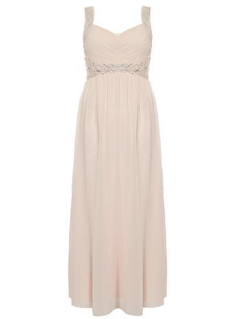 Womens **Quiz Pleated Diamante Maxi Dress Pink - pattern: plain; sleeve style: sleeveless; style: maxi dress; neckline: sweetheart; waist detail: belted waist/tie at waist/drawstring; predominant colour: blush; occasions: evening; length: floor length; fit: body skimming; fibres: polyester/polyamide - 100%; sleeve length: sleeveless; texture group: sheer fabrics/chiffon/organza etc.; pattern type: fabric; embellishment: crystals/glass; season: s/s 2016