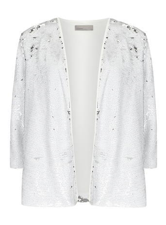 Womens **Vero Moda White Sequin Jacket White - collar: round collar/collarless; fit: loose; predominant colour: white; occasions: evening; length: standard; fibres: polyester/polyamide - 100%; sleeve length: 3/4 length; sleeve style: standard; collar break: low/open; pattern type: fabric; pattern size: standard; pattern: patterned/print; texture group: other - light to midweight; embellishment: sequins; style: fluid/kimono; season: s/s 2016; wardrobe: event