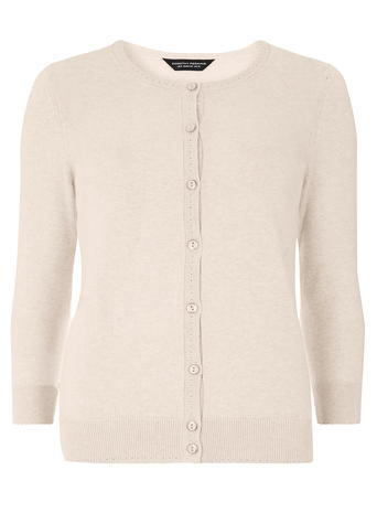 Womens Nude Cotton Cardigan White - neckline: round neck; pattern: plain; predominant colour: ivory/cream; occasions: casual, work, creative work; length: standard; style: standard; fibres: cotton - mix; fit: slim fit; sleeve length: 3/4 length; sleeve style: standard; texture group: knits/crochet; pattern type: knitted - fine stitch; season: s/s 2016; wardrobe: basic