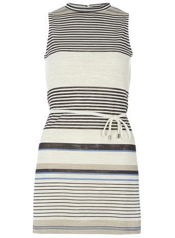 Womens Navy Stripe Mock Neck Tunic Ivory - pattern: horizontal stripes; sleeve style: sleeveless; neckline: high neck; length: below the bottom; style: tunic; waist detail: belted waist/tie at waist/drawstring; predominant colour: ivory/cream; secondary colour: navy; occasions: casual; fibres: polyester/polyamide - stretch; fit: body skimming; sleeve length: sleeveless; texture group: jersey - clingy; pattern type: fabric; pattern size: standard; season: s/s 2016