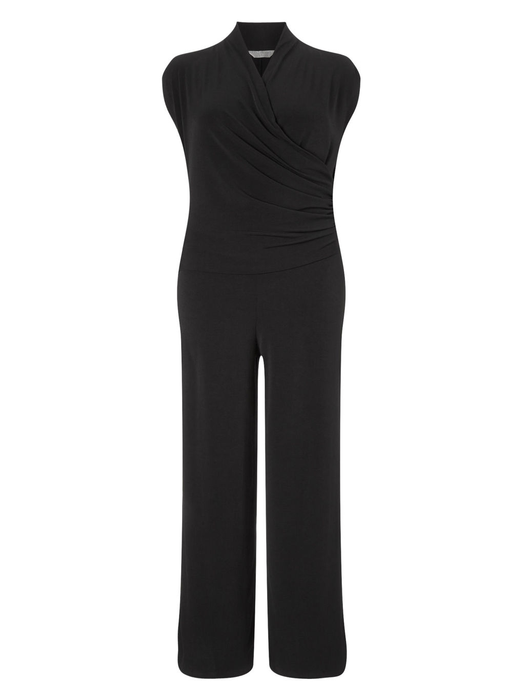 Black Jumpsuit - length: standard; neckline: v-neck; sleeve style: capped; pattern: plain; predominant colour: black; occasions: evening; fit: body skimming; fibres: polyester/polyamide - stretch; sleeve length: short sleeve; style: jumpsuit; pattern type: fabric; texture group: jersey - stretchy/drapey; season: s/s 2016; wardrobe: event