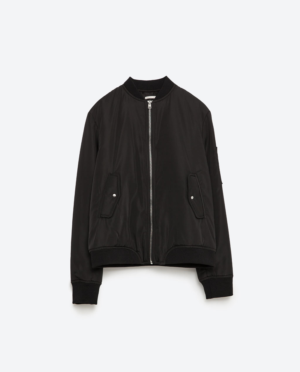 Nylon Bomber Jacket - pattern: plain; collar: round collar/collarless; style: bomber; predominant colour: black; occasions: casual; length: standard; fit: straight cut (boxy); fibres: polyester/polyamide - 100%; sleeve length: long sleeve; sleeve style: standard; collar break: high; pattern type: fabric; texture group: other - light to midweight; season: s/s 2016