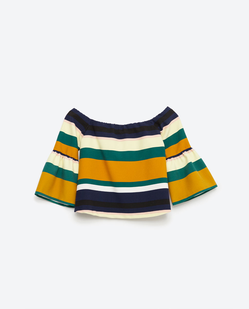 Striped Top - neckline: off the shoulder; sleeve style: bell sleeve; pattern: horizontal stripes; predominant colour: mustard; secondary colour: black; occasions: casual; length: standard; style: top; fibres: cotton - stretch; fit: body skimming; sleeve length: 3/4 length; pattern type: fabric; texture group: other - light to midweight; multicoloured: multicoloured; season: s/s 2016; wardrobe: highlight