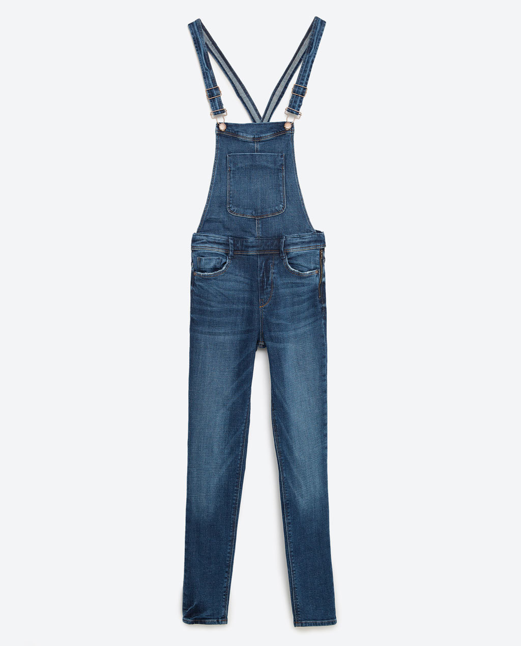 Skinny Denim Dungarees - length: standard; pattern: plain; sleeve style: sleeveless; predominant colour: denim; occasions: casual; fit: body skimming; fibres: cotton - stretch; sleeve length: sleeveless; texture group: denim; style: dungarees; neckline: low square neck; pattern type: fabric; season: s/s 2016; wardrobe: highlight