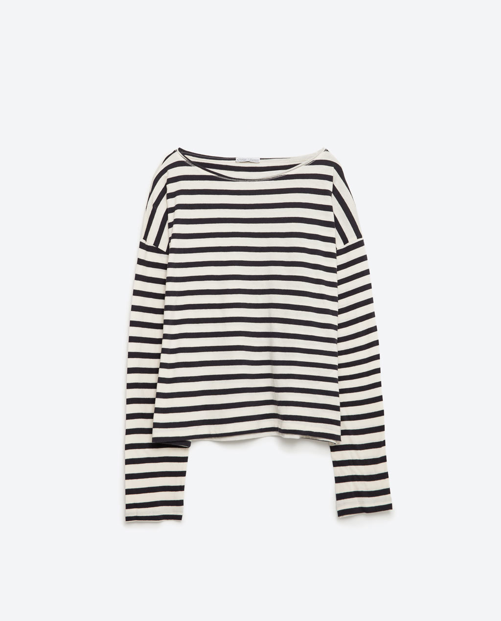 Boatneck Top - neckline: slash/boat neckline; pattern: horizontal stripes; secondary colour: white; predominant colour: black; occasions: casual; length: standard; style: top; fibres: cotton - 100%; fit: body skimming; sleeve length: long sleeve; sleeve style: standard; pattern type: fabric; texture group: jersey - stretchy/drapey; multicoloured: multicoloured; season: s/s 2016; wardrobe: basic