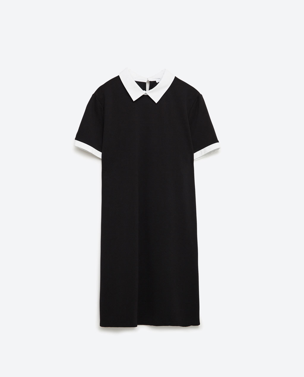 A Line Dress - style: shift; length: mid thigh; neckline: shirt collar/peter pan/zip with opening; secondary colour: white; predominant colour: black; fit: soft a-line; fibres: polyester/polyamide - stretch; sleeve length: short sleeve; sleeve style: standard; pattern type: fabric; pattern size: light/subtle; pattern: colourblock; texture group: other - light to midweight; occasions: creative work; season: s/s 2016; wardrobe: highlight