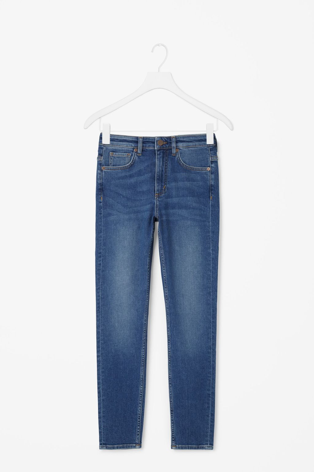 Slim Fit Cropped Jeans - pattern: plain; waist: high rise; style: slim leg; predominant colour: denim; occasions: casual, creative work; length: ankle length; fibres: cotton - mix; jeans detail: shading down centre of thigh; texture group: denim; pattern type: fabric; season: s/s 2016; wardrobe: basic