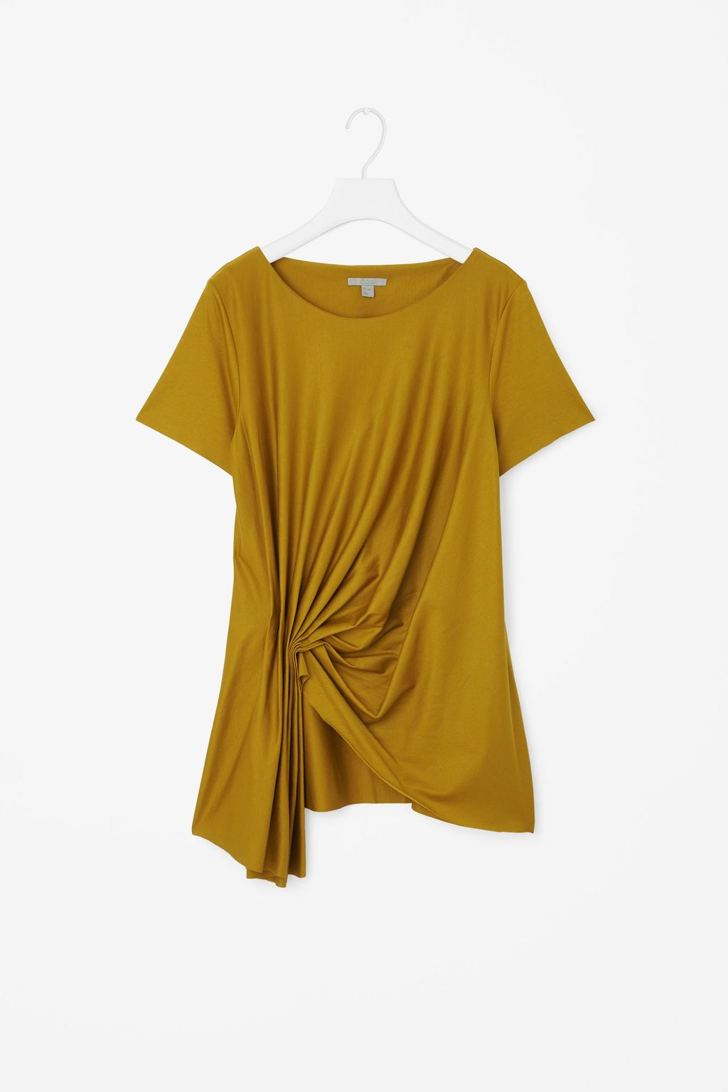 Top With Front Drape Detail - neckline: round neck; pattern: plain; style: t-shirt; waist detail: flattering waist detail; predominant colour: mustard; occasions: casual; length: standard; fibres: cotton - 100%; fit: body skimming; sleeve length: short sleeve; sleeve style: standard; pattern type: fabric; texture group: jersey - stretchy/drapey; season: s/s 2016; wardrobe: highlight