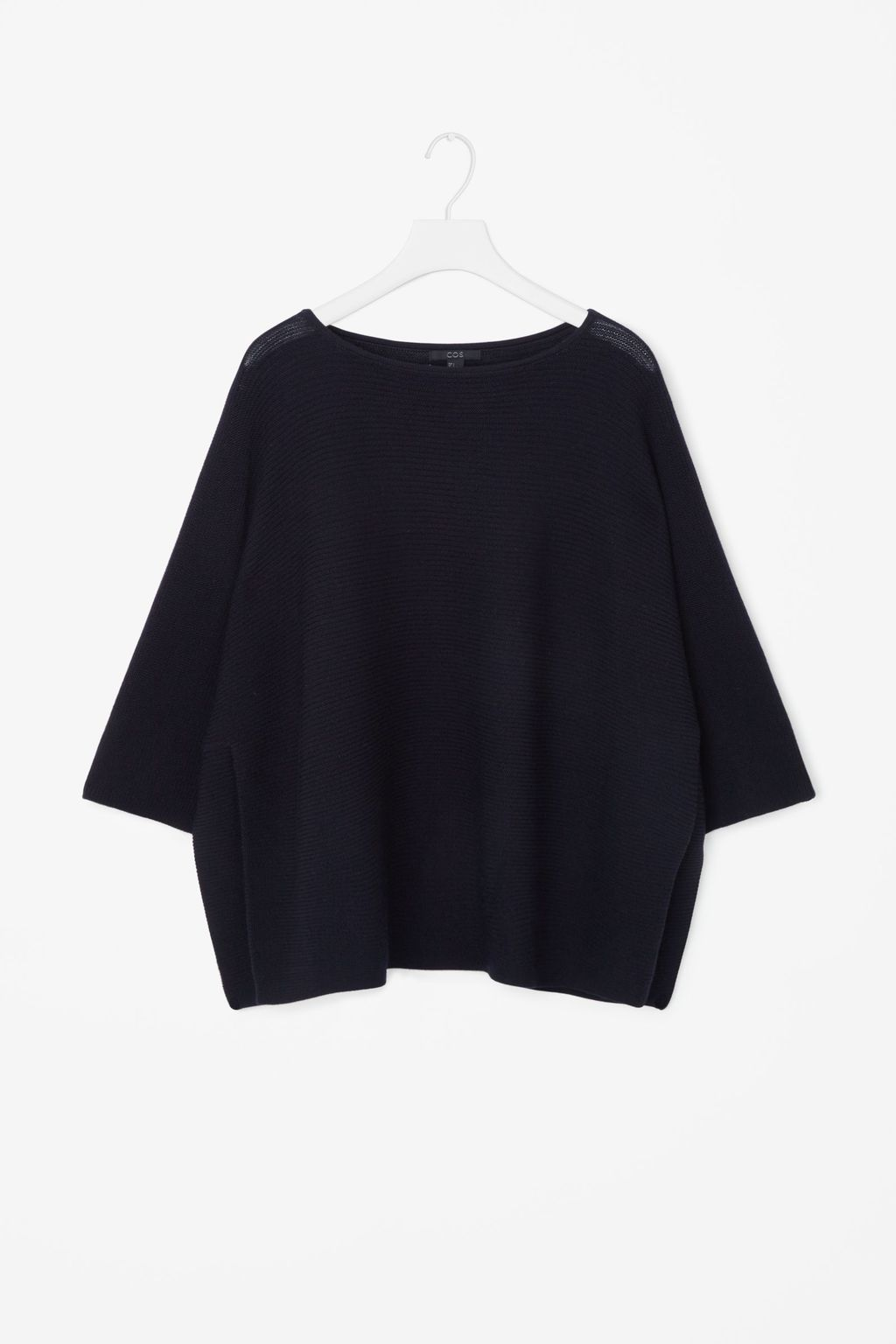 Cropped Oversize Knit Jumper - neckline: round neck; pattern: plain; style: poncho; predominant colour: black; occasions: casual, creative work; length: standard; fibres: wool - 100%; fit: loose; sleeve length: 3/4 length; texture group: knits/crochet; pattern type: knitted - fine stitch; sleeve style: cape/poncho sleeve; season: s/s 2016; wardrobe: highlight