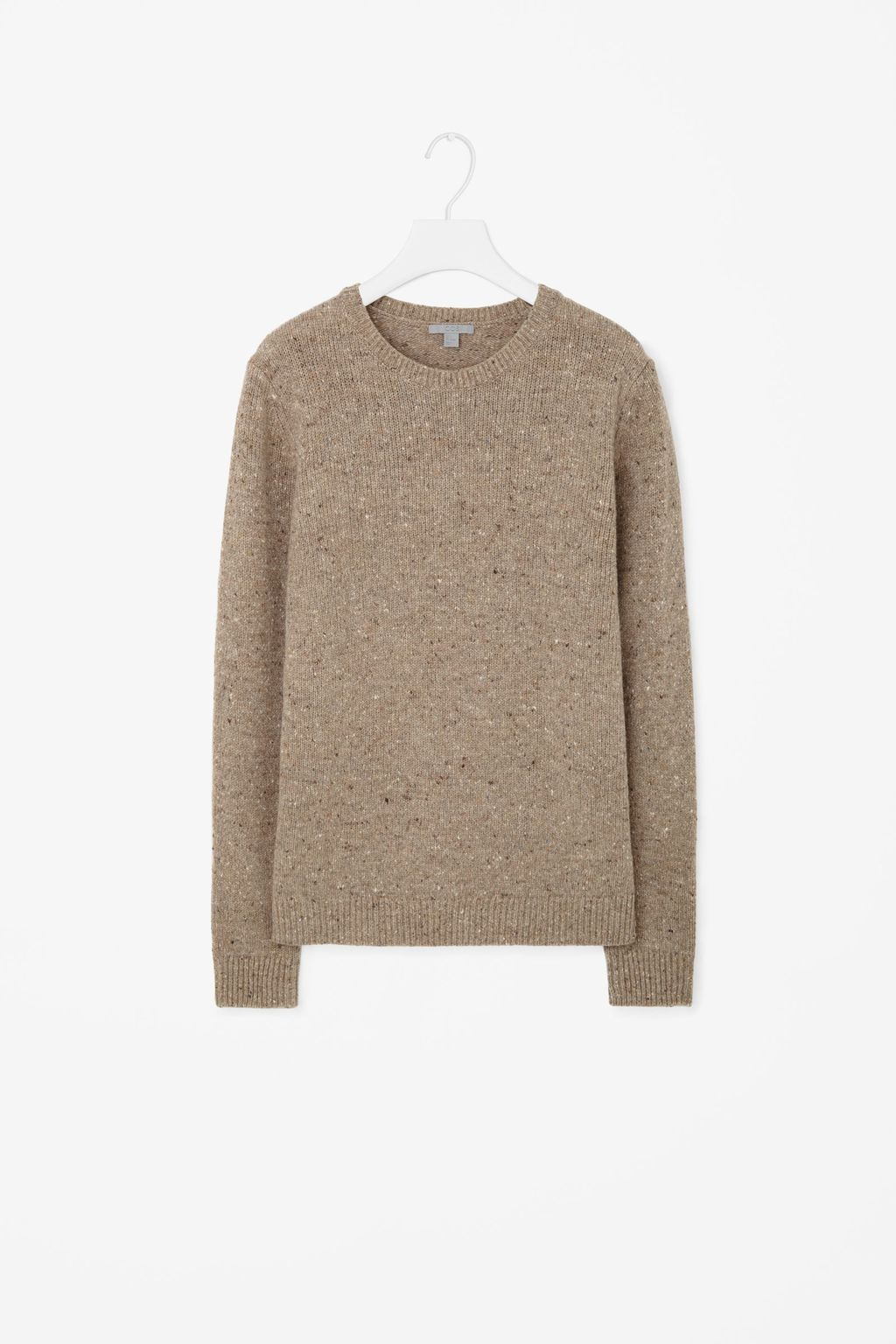 Wool Jumper With Speckles - pattern: plain; length: below the bottom; style: standard; predominant colour: taupe; occasions: casual, creative work; fibres: wool - 100%; fit: loose; neckline: crew; sleeve length: long sleeve; sleeve style: standard; texture group: knits/crochet; pattern type: knitted - other; season: s/s 2016; wardrobe: basic