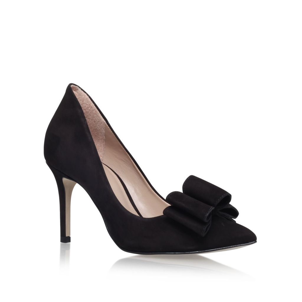 Belle High Heel Court Shoes, Black - predominant colour: black; occasions: evening, occasion; material: suede; heel height: high; heel: stiletto; toe: pointed toe; style: courts; finish: plain; pattern: plain; embellishment: bow; season: s/s 2016; wardrobe: event