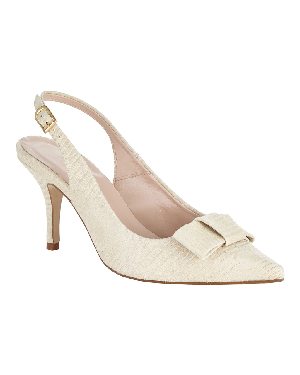 Sammy Leather Bow Sling Back - predominant colour: ivory/cream; occasions: occasion; material: leather; heel height: mid; heel: kitten; toe: pointed toe; style: slingbacks; finish: plain; pattern: plain; embellishment: bow; season: s/s 2016